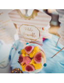 12 Piques Gateau Rose et Or Petite Merveille Fille Baby Shower Fille