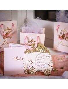 8 Invitations Carrosse Anniversaire Princesse