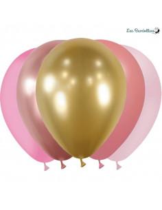 20 Ballons Roses, Rose Gold, Dorés