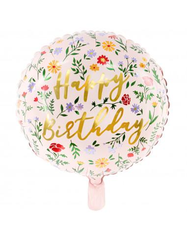 Ballon Aluminium Rond Fleurs Happy Birthday
