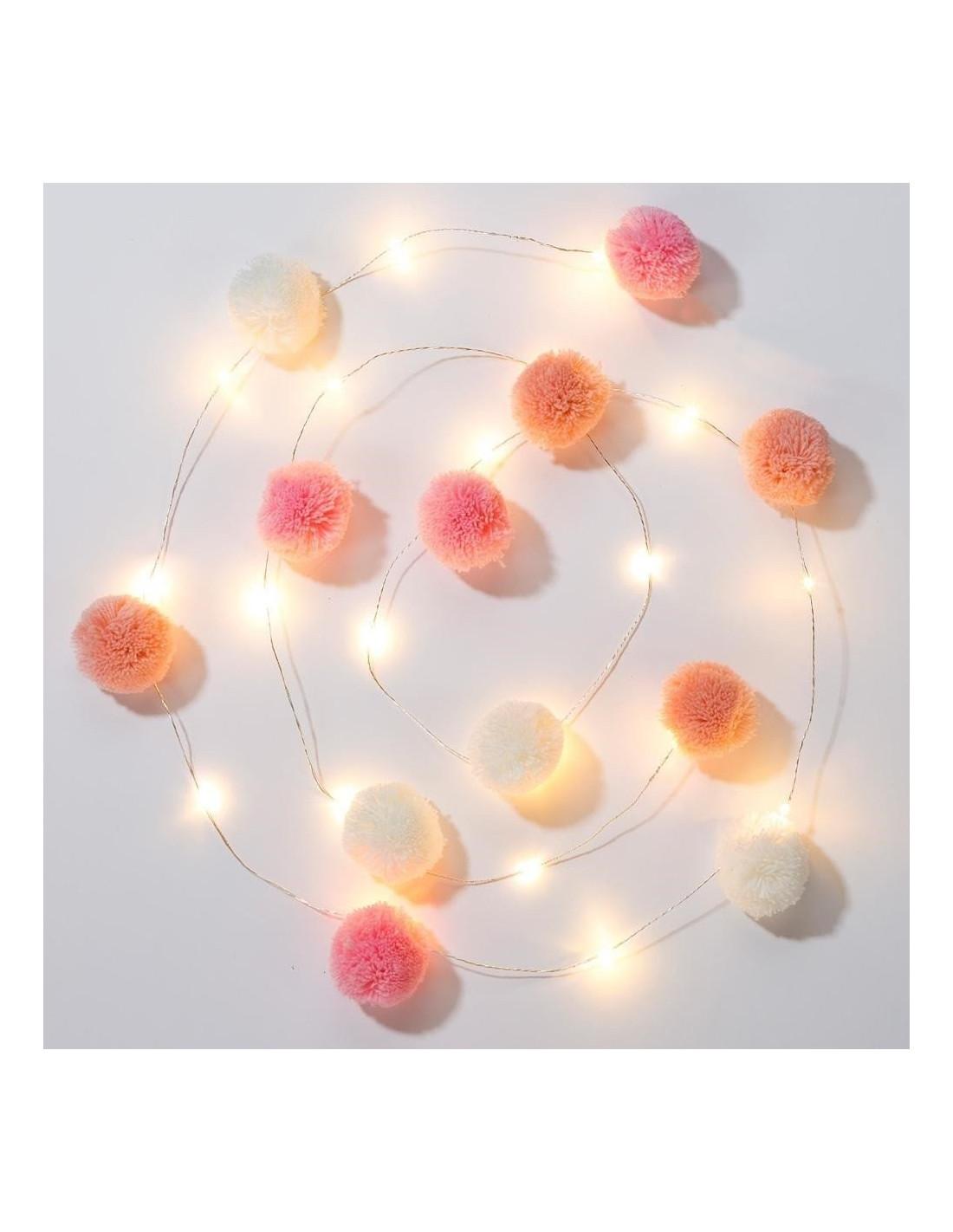 Guirlande Lumineuse Leds 17 Pompons Roses,Blancs, Pêche