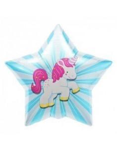 Ballon métallique étoile avec licorne