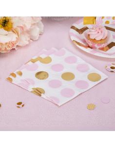16 serviettes pois dorés et roses