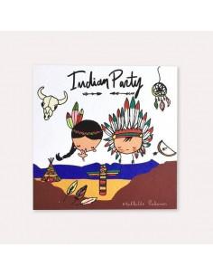 6 invitations anniversaire Indiens et indiennes avec 6 enveloppes blanches Mathilde Cabanas