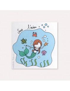 6 invitations anniversaire Sirène avec 6 enveloppes blanches Mathilde Cabanas