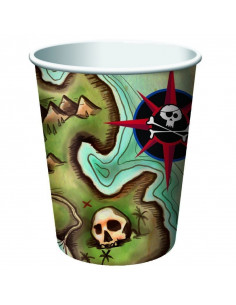 8 gobelets en carton anniversaire Pirate