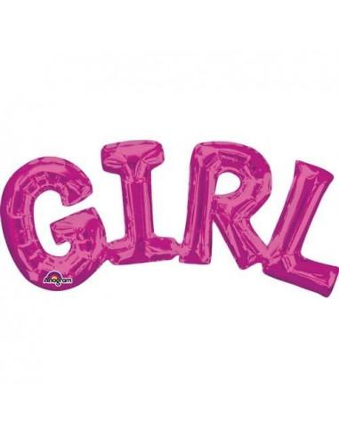 "Ballon métallique rose écriture ""Girl"" majuscule"