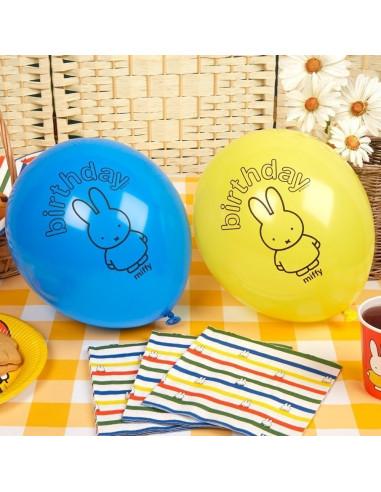 8 ballons jaunes et bleus dessin Miffy