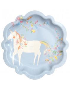 8-petites-assiettes-bleu-ciel-avec-licorne-meri-meri-decoration-fete-licorne-princesse